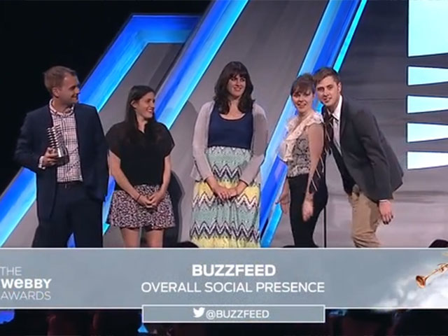 Buzzfeeds 5 word speech at the 18th annual Webby awards