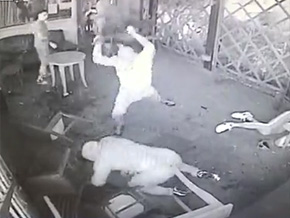 Epic bar brawl ends in chair to the head