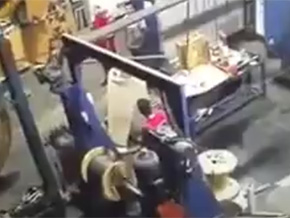 Industrial machine takes worker for a spin