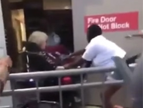 Old White Lady in wheel chair tries to stop rioters at Target